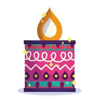 happy diwali festival, colored candle flame ornament decoration detailed vector