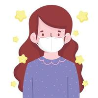 brunette girl with mask protection new normal vector