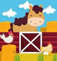 farm horse and chickens vector