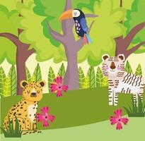 safari jungle animals vector