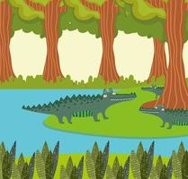 alligators lake and forest vector