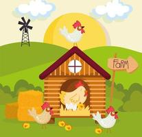 farm Henhouse and poultry vector