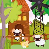 cute farm chicken sheep vector
