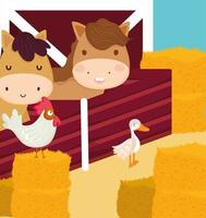 farm horses and poultry vector