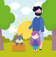 family with dog adoption vector