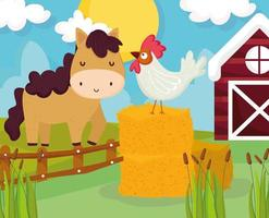 farm horse and rooster vector