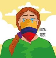 colombian woman crying vector