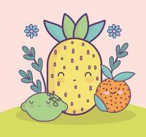 pineapple orange lemon cute vector