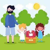 adoption family dog vector