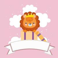 little lion with ribbon vector