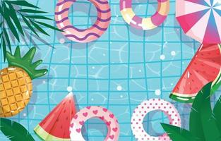 Summer Time Swimming Pool Top View vector