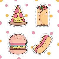 cute fast food vector