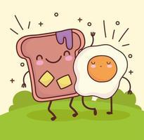 cute fried egg bread vector