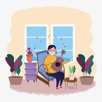 girl playing guitar vector