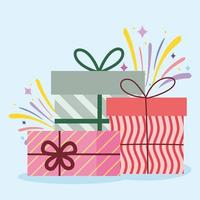 wrapped gift boxes surprise decoration celebraton vector
