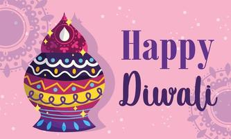 happy diwali festival, lights ceremony traditional detailed vector