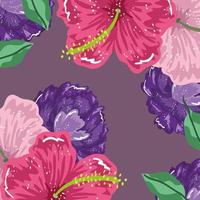 hibiscus flowers and leaves nature decoration background vector