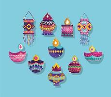 happy diwali festival, collection icons diya lamps lanterns ornaments decoration detailed vector