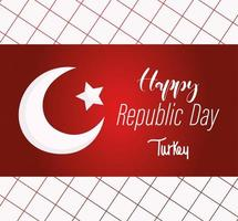 turkey republic day, bright flag message on grid background vector
