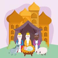 nativity, manger baby jesus wise kings with lamb and donkey cartoon vector