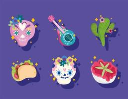 mexico culture set icons, skull, guitar, cactus, sauce and taco vector