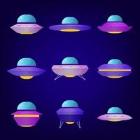 Space UFO Icon Collection vector