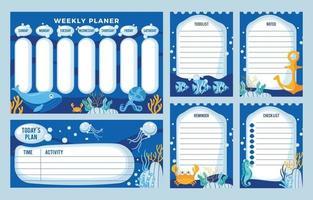 Beautiful Sea Life Themed Journal Template vector