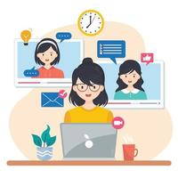 Group of Friends Doing Virtual Meeting vector