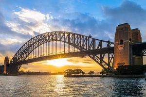 Night view of Sydney with Sydney Harbor Bridge photo