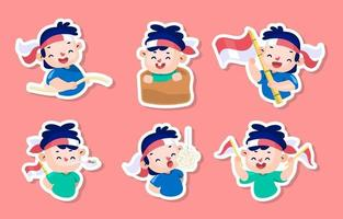 Indonesia Independence Day Celebration Stickers vector
