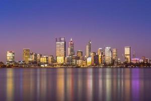 Skyline of Perth at night in Western Australia photo