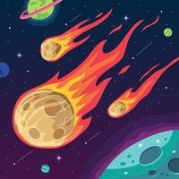 meteorito ardiente en el espacio vector