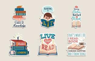 Happy Literacy Day Sticker Collection vector