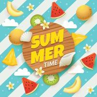 Summer Time with Fruit and Flower vector