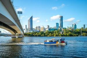 Brisbane river with city skyline background photo
