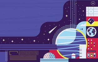 Space Exploration with Planets and Spaceship vector
