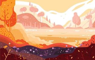 Autumn Forest with River and Mountain vector