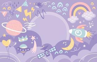 Space Pastel Purple Background vector