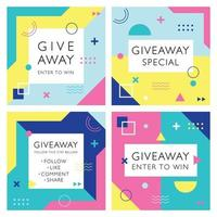 Giveaway Template for Social Media vector