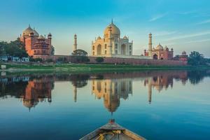 Boat ride on Yamuna river near Taj Mahal at Agra, India photo