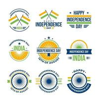 India Independence Badge Set vector