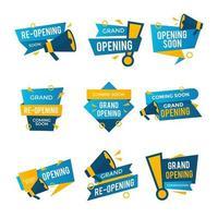 Grand Opening Badge Set vector