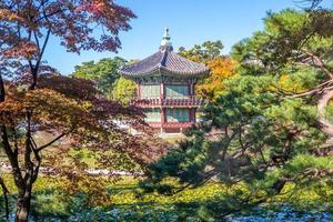 Hyangwonjeong Pavilion in Gyeongbokgung, Seoul, South Korea photo