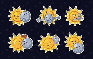 Solar Eclipse Characters Based Sticker Pack vector