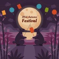 Bunnies under the Moonlight on Mid Autumn Festival vector