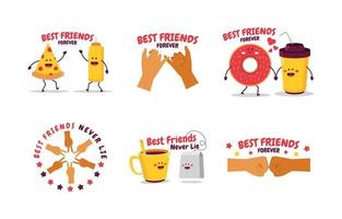 Cute Friendship Sticker Collection with Hand Gesture and Object vector
