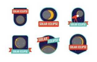 Solar Eclipse Badges Collection vector