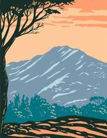 The Peak of Mount Tamalpais or Mount Tam Located Within Mt. Tamalpais State Park in Marin County California United States of America WPA Poster Art vector