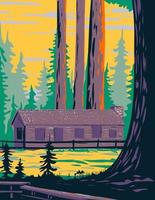 Mariposa Grove Cabin with General Grant and General Sheridan Tree Located in Yosemite National Park California United States of America WPA Poster Art vector