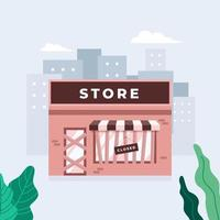 Store shop or cafe is bankrupt and closed. Locked door on a business that has gone bankrupt. Closing down concept. vector